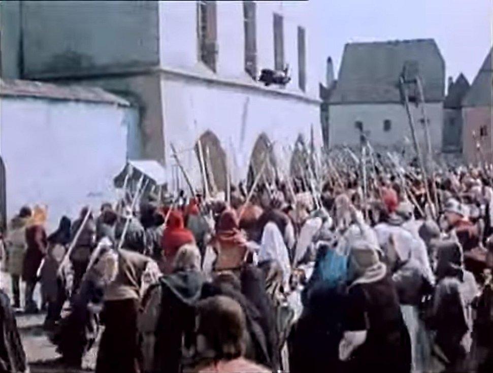 Vyhození konšelů z oken v představě tvůrců filmu Jan Žižka