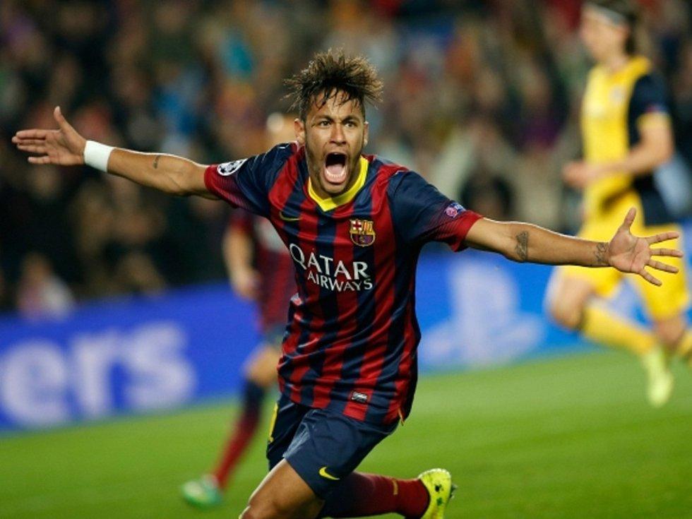 Neymar z Barcelony se raduje z gólu proti Atlétiku Madrid.