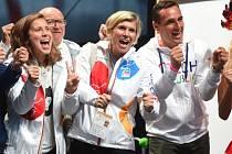 V Lipně nad Vltavou se slavnostně otevřel Olympijský park Rio Lipno 2016. Byli u toho i olympijští šampioni (zleva) Eva Samková, Kateřina Neumannová a Roman Šebrle.