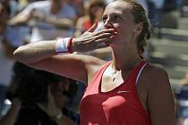 Petra Kvitová se raduje z výhry na US Open.