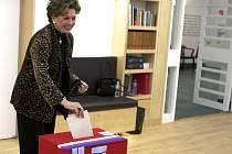 Ája Vrzáňová při hlasování v rámci prvního kola prezidentské volby na českém konzulátu v New Yorku.
