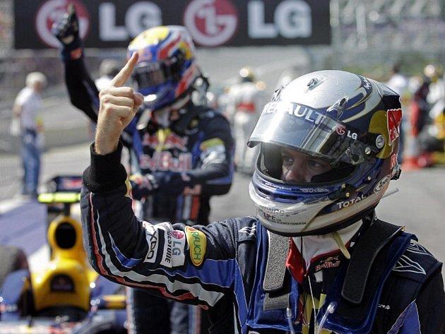 Pilot stáje Red Bull Sebastian Vettel slaví vítězství ve Velké ceně Brazílie.