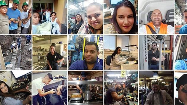 Koláž fotografií pracujících Romů