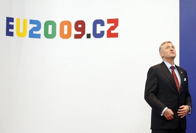 Český premiér Mirek Topolánek na summitu EU