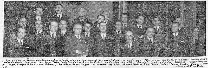 Těsně poválečná de Gaullova francouzská vláda 25. listopadu 1945 v hotelu Matignon