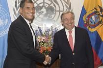 Ekvádorský prezident Rafael Correa a António Guterres.