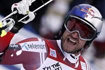 Aksel Lund Svindal a jeho radost z triumfu ve Wengenu