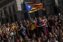 Demonstrace studentů v Barceloně na snímku ze 17. října 2019