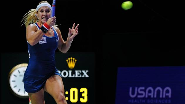 Dominika Cibulková v utkání s Rumunkou Simonou Halepovou.