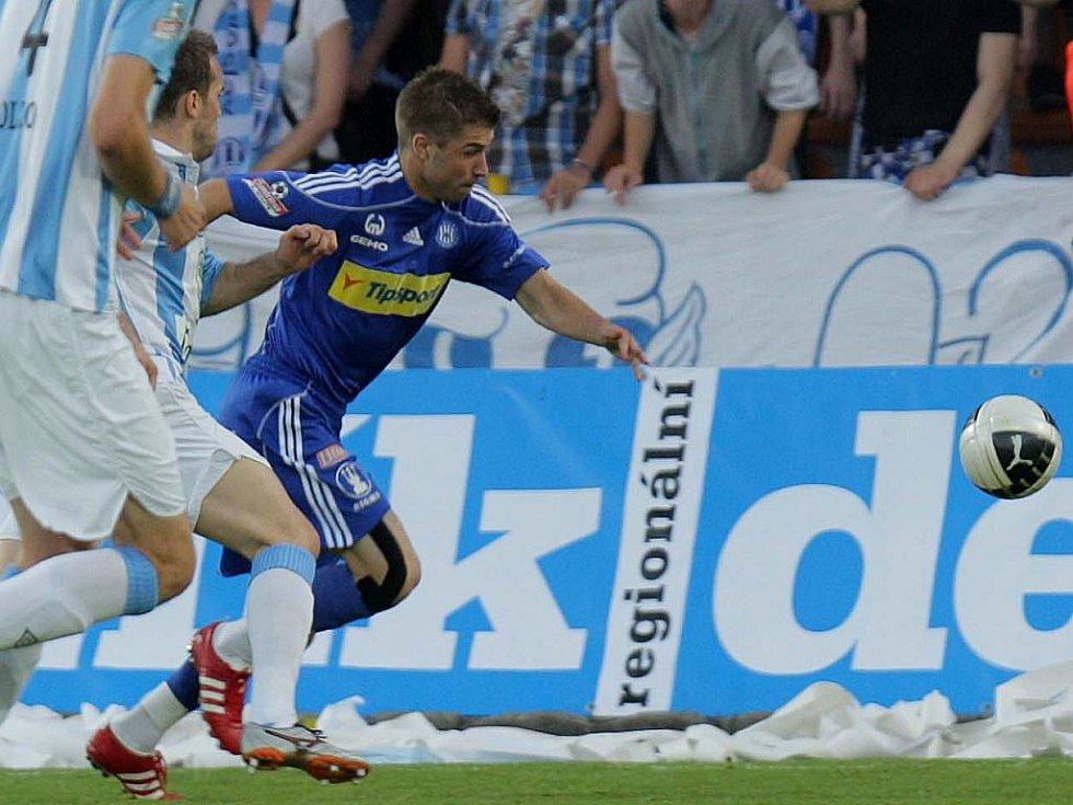 Pavel Šultes z Olmouce ve finále Ondrášovka Cupu proti Boleslavi.