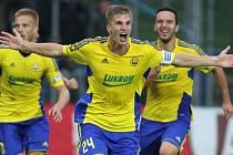 Jakub Jugas se raduje z vedoucího gólu Zlína