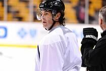 Jaromír Jágr na prvním tréninku Bostonu.