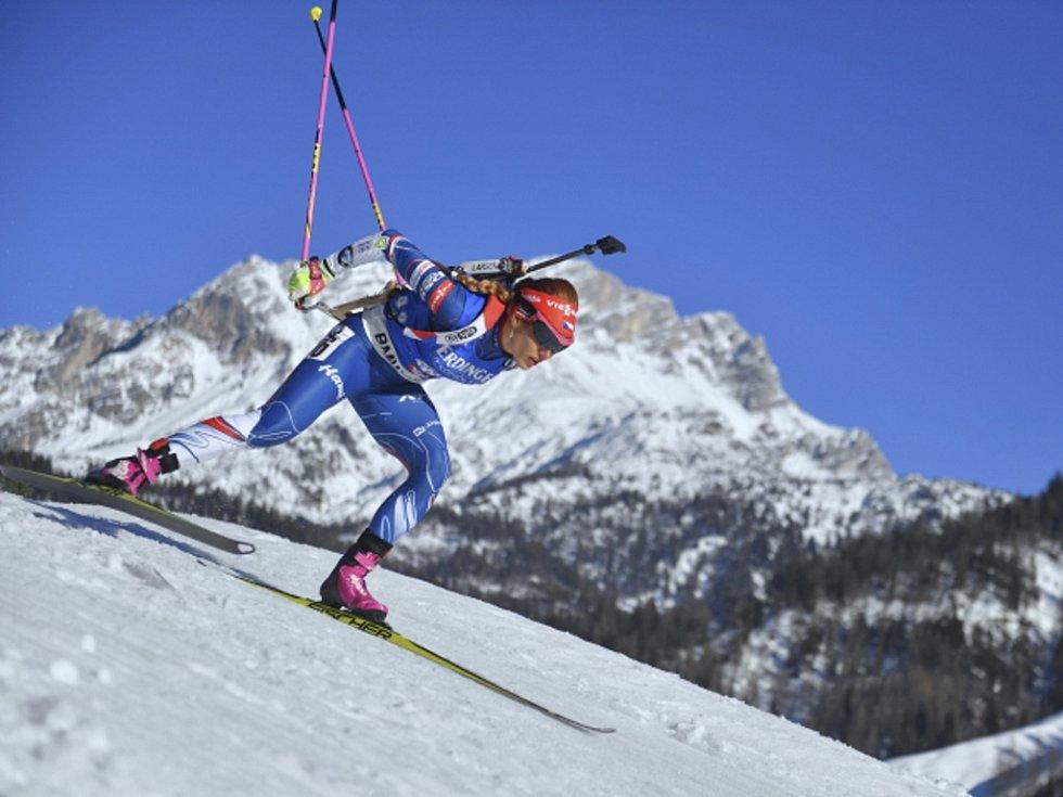 Gabriela Koukalová během zlatého sprintu na mistrovství světa.