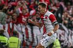 Milan Škoda ze Slavie se raduje z gólu proti Spartě.