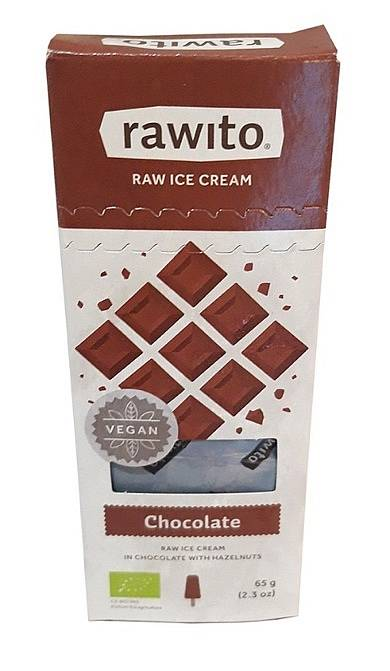 Rawito Raw ice cream in Chocolate with haselnuts.