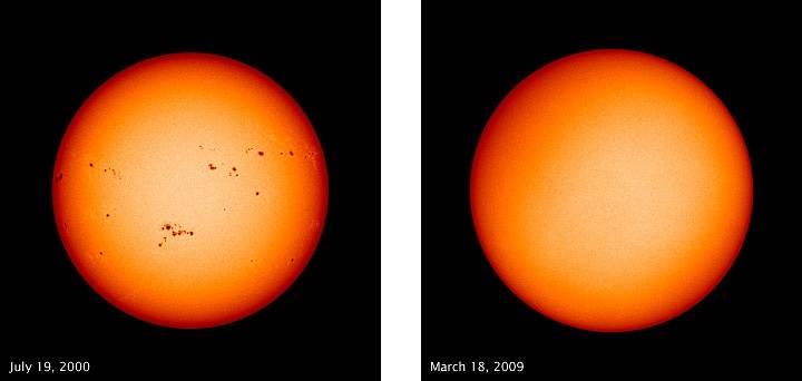 Sluneční skvrny zachycené 19. července 2000 a 18. března 2009