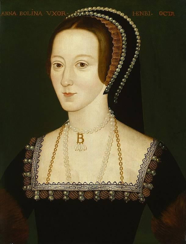 Anna Boleynová, žena, pro kterou byl Jindřich VIII. ochotný pustit se do rozkolu s katolickou církví. Když mu nedala mužského dědice, obvinil jí z cizoložství a nechal popravit.