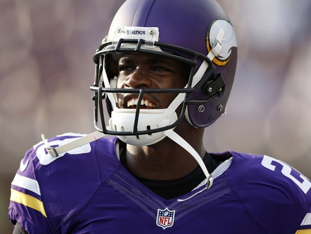 Hvězda NFL Adrian Peterson z Minnesoty.