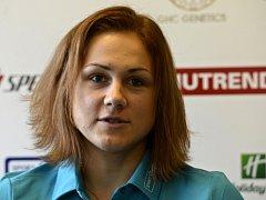 Rychlobruslařka Karolína Erbanová vystoupila 23. října v Praze na tiskové konferenci před zahájením olympijské sezony.