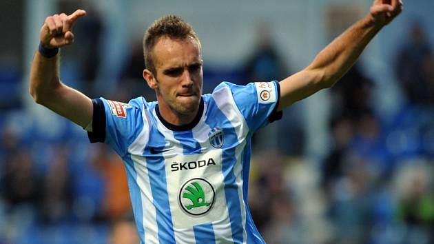 Jasmin Ščuk z Mladé Boleslavi se raduje z gólu proti Jihlavě.