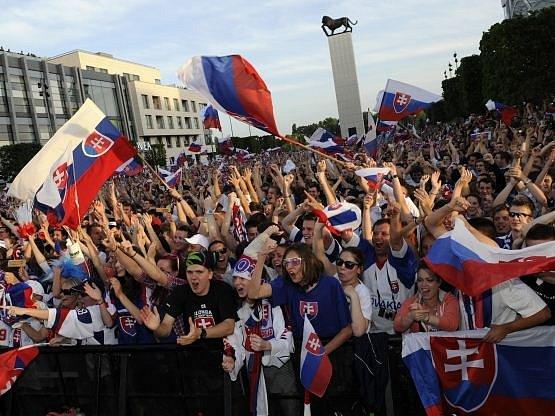 Fanoušci Slovenska žijí hokejem.