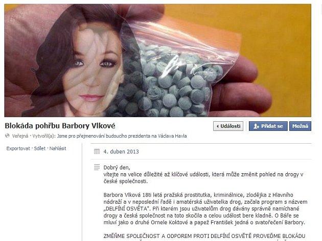 Facebooková událost vyzývající k blokádě pohřbu devatenáctileté studentky