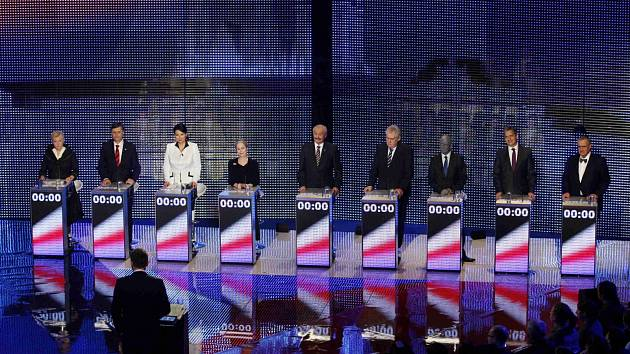 Závěrečná superdebata na České televizi se všemi devíti kandidáty na prezidenta