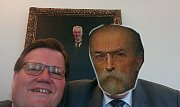 Selfie Zdeňka Škromacha s prezidentem Milošem Zemanem - fotomontáž.
