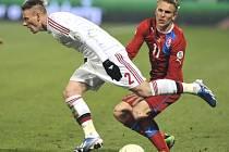 Reprezentant Bořek Dočkal (vpravo) proti Dánsku.