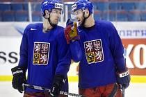 Jiří Novotný (vpravo) a Jan Hejda debatují na tréninku české reprezentace.