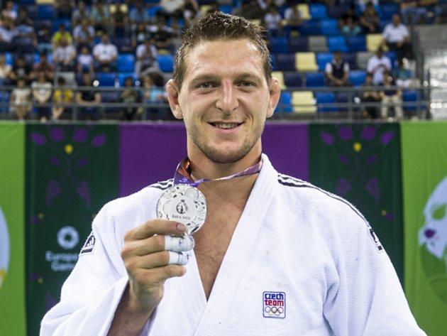 Judista Lukáš Krpálek se stříbrnou medailí z Evropských her.