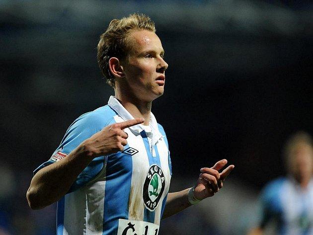 Jan Chramosta z Boleslavi se raduje z gólu.