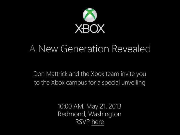 Pozvánka na odhalení nového Xboxu.