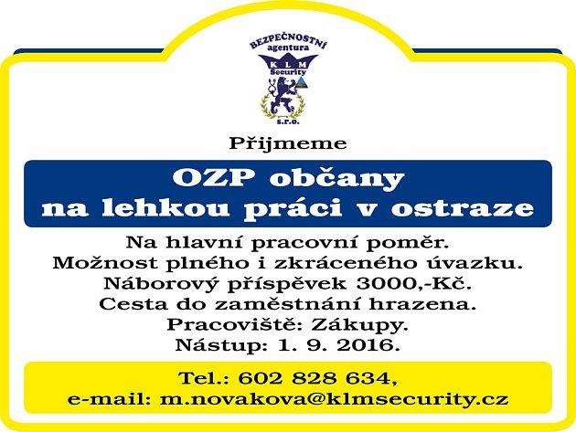 KLM Security nabízí volná pracovní místa v Zákupech