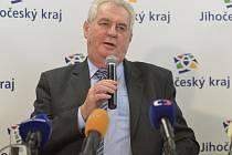 Prezident Miloš Zeman při návštěvě jihočeského kraje.