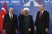 Vladimir Putin, Hasan Rúhání a Recep Tayyip Erdogan