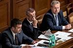 Jan Hamáček, Andrej Babiš a Richard Brabec v Poslanecké sněmovně