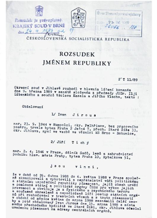 Rozsudek v případu Ivana M. Jirouse a Jiřího Tichého