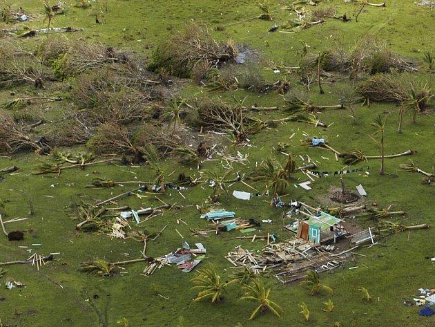 Ptačí pohled na katastrofu, která zůstala po hurikánu Felix.