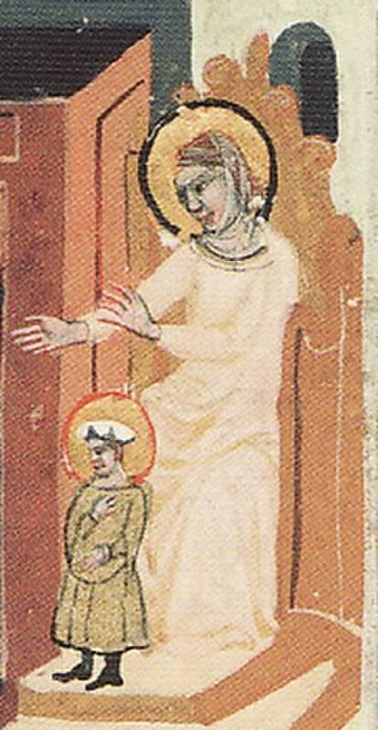 Svatá Ludmila se svatým Václavem, výřez z Dalimilovy kroniky
