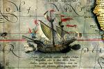 Nákršs Magalhaesovy lodi Victoria na mapě Abrahama Orteliuse