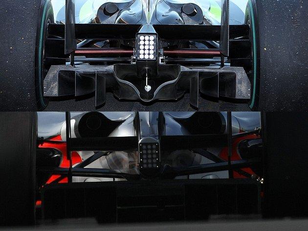 Difuzory podle inženýrů Brawnu (nahoře) a McLarenu (dole). Brawn GP podle soupeřů porušuje pravidla, odvolací soud FIA je ale jiného názoru.