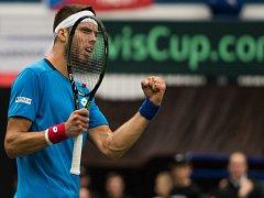 Jiří Veselý v Davis Cupu proti Austrálii.