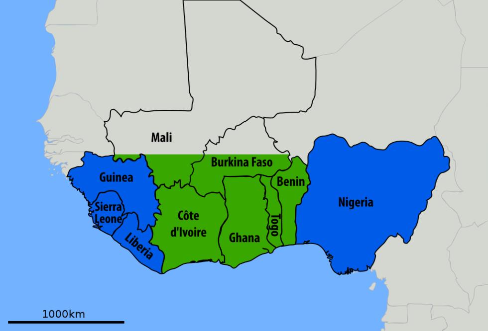 Takto se krvácivá horečka Lassa šířila v roce 2014. Země postižené nákazou jsou vyznačeny modrou barvou, země uvádějící několik případů nebo sérologický nález infekce zelenou