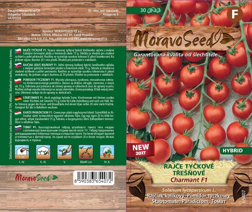 Kromě klasických druhů zeleniny lze dnes koupit i semínka jarních odrůd. Na snímku rajče tyčkové - Charmant F1