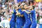 Radost Chorvatů ze vstřeleného gólu.