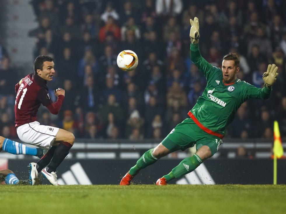 David Lafata ze Sparty střílí gól proti Schalke.