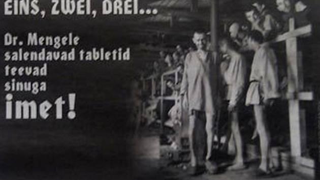"""Fotografii na kost vyhublých vězňů koncentračního tábora z druhé světové války s nápisem """"Kouzelné tabletky na hubnutí od Dr. Mengeleho"""" publikovali estonští novináři na serveru Eesti Ekspress."""