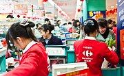 Supermarket francouzského řetězce Carrefour v čínském Chongqingu