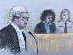 Berlinah Wallaceová v kresbě ze soudní síně